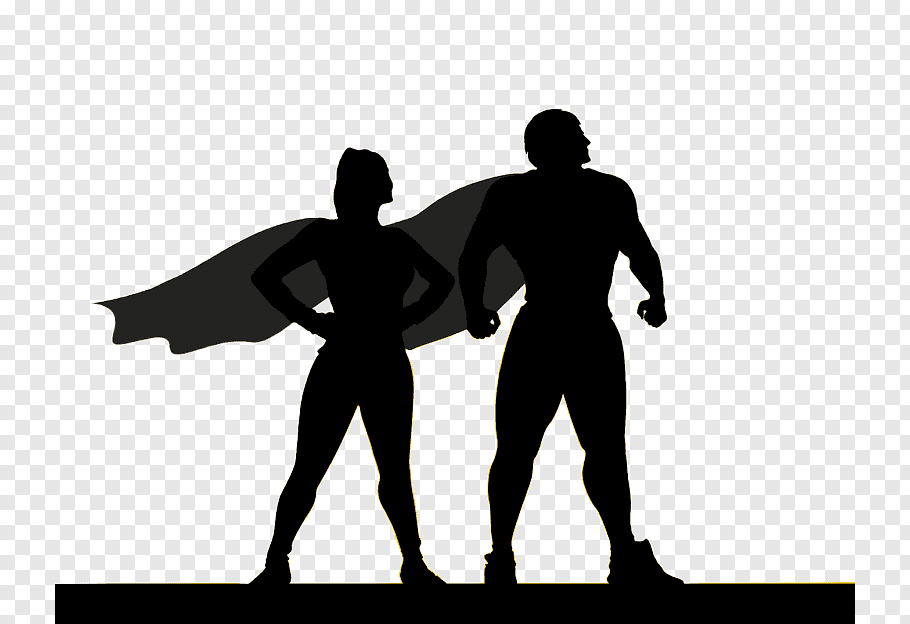 female and male superhero vector art png clip art